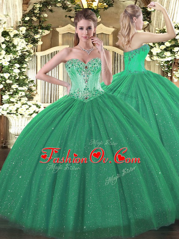 Artistic Turquoise Sweetheart Neckline Beading 15th Birthday Dress Sleeveless Lace Up