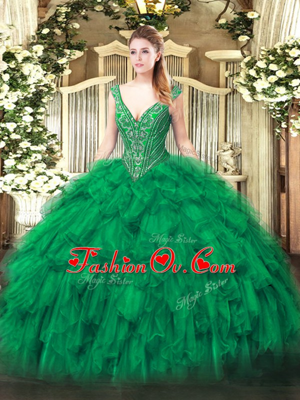 Pretty Sleeveless Floor Length Beading and Ruffles Lace Up Sweet 16 Dress with Green