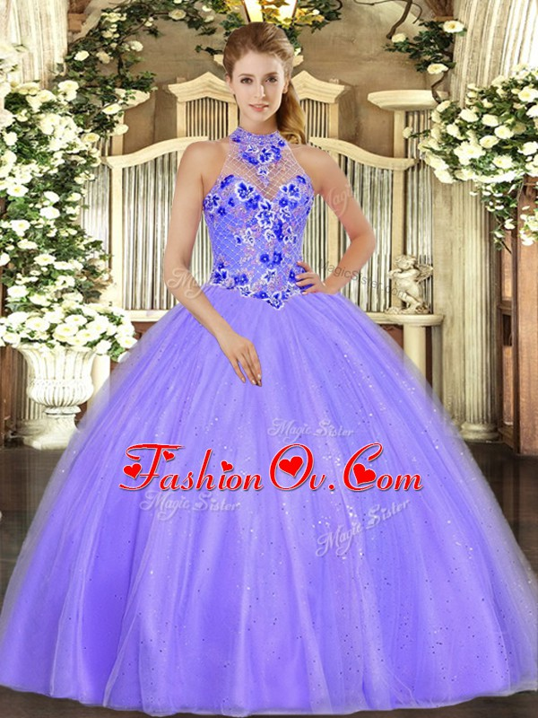 Lavender Tulle Lace Up Halter Top Sleeveless Floor Length Quinceanera Gowns Embroidery