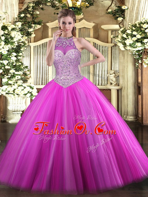 Dazzling Floor Length Ball Gowns Sleeveless Fuchsia 15 Quinceanera Dress Lace Up