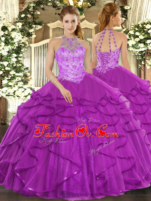 Top Selling Organza Halter Top Sleeveless Lace Up Beading and Ruffles Ball Gown Prom Dress in Purple
