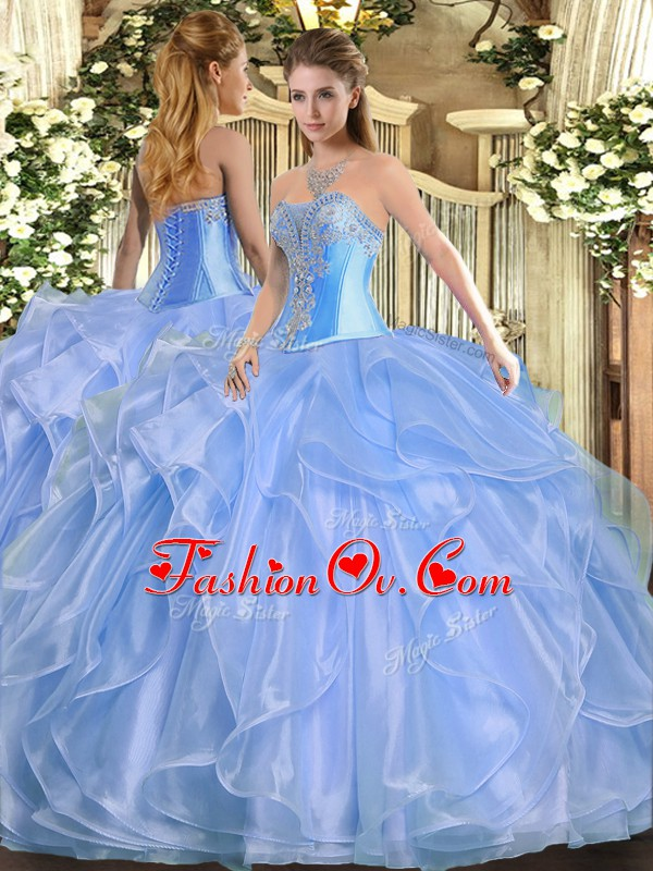 Custom Designed Organza Sweetheart Sleeveless Lace Up Beading and Ruffles Sweet 16 Quinceanera Dress in Baby Blue