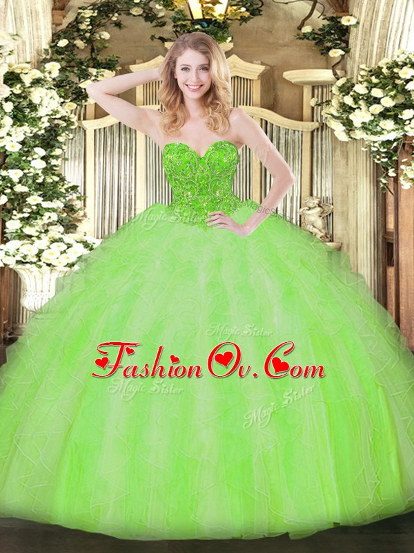 Sleeveless Beading and Ruffles Floor Length Quinceanera Dress