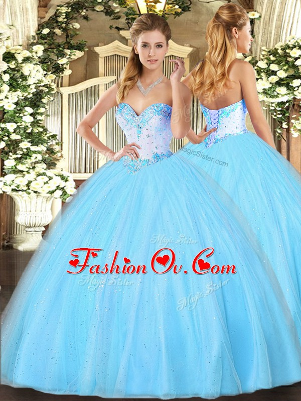 Aqua Blue Sweetheart Neckline Beading Quinceanera Gowns Sleeveless Lace Up