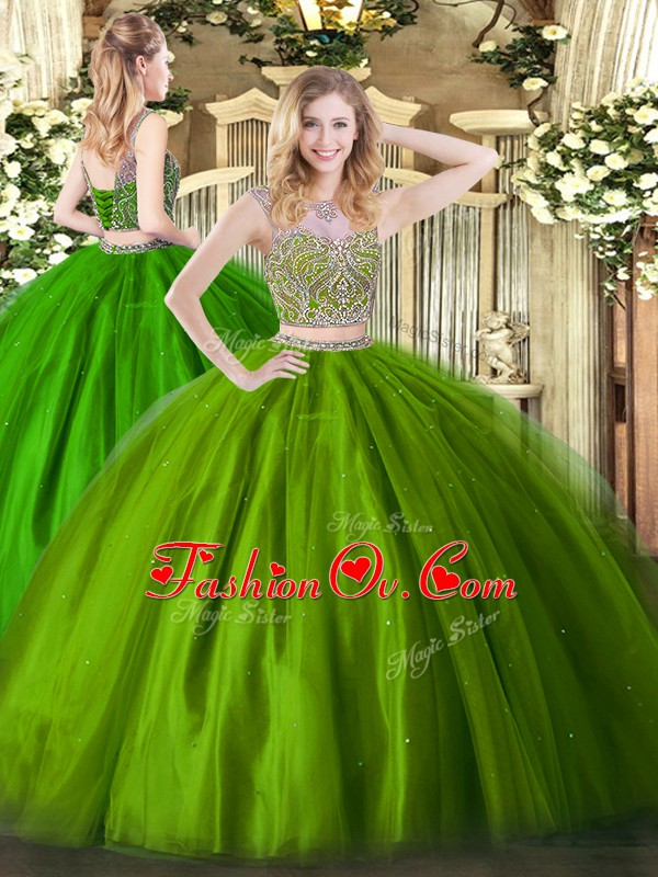 Hot Sale Floor Length Two Pieces Sleeveless Olive Green Quinceanera Dresses Lace Up