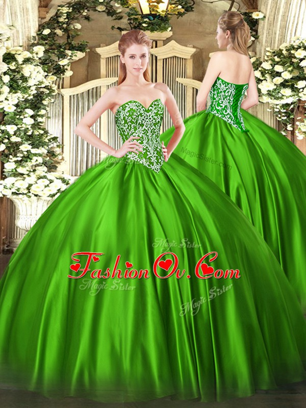 Exquisite Sleeveless Lace Up Floor Length Beading Quinceanera Dresses