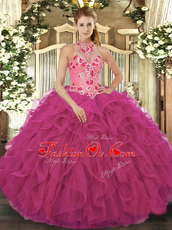 Floor Length Lace Up Sweet 16 Dress Hot Pink for Military Ball and Sweet 16 and Quinceanera with Beading and Embroidery and Ruffles