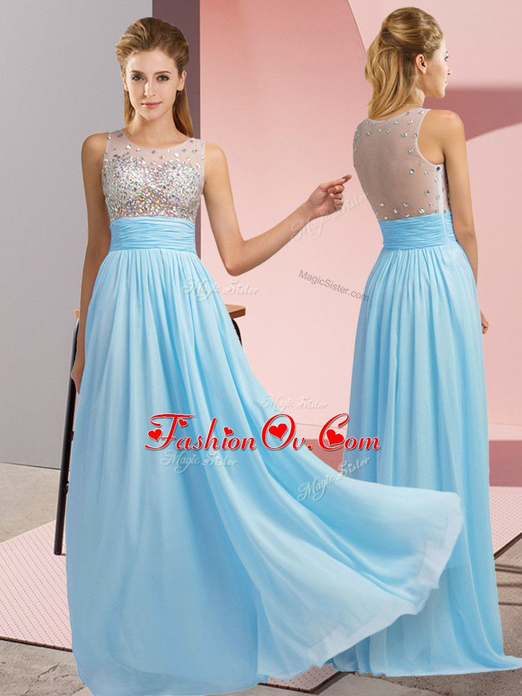 Cute Floor Length Aqua Blue Prom Evening Gown Chiffon Sleeveless Beading