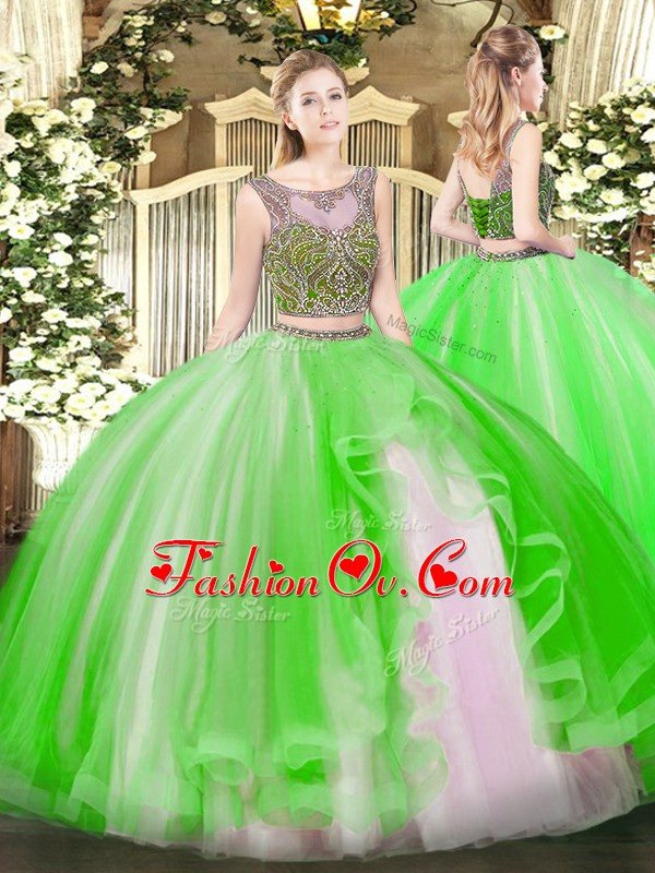Customized Scoop Neckline Beading and Ruffles Quinceanera Dress Sleeveless Lace Up