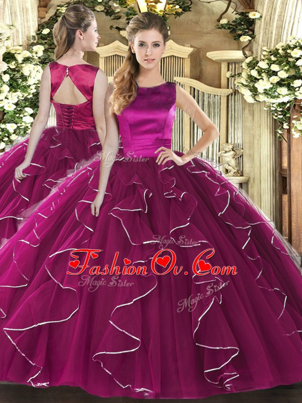 Spectacular Floor Length Lace Up Quince Ball Gowns Fuchsia for Military Ball and Sweet 16 and Quinceanera with Ruffles
