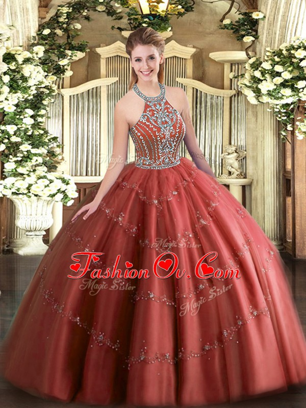 Beauteous Wine Red Ball Gowns Beading and Appliques Quinceanera Dress Lace Up Tulle Sleeveless Floor Length