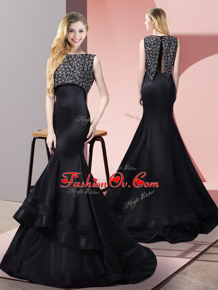 Graceful Floor Length Mermaid Sleeveless Black Prom Evening Gown Sweep Train Zipper