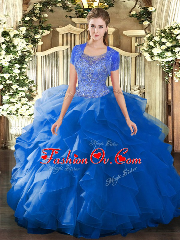 Floor Length Blue Quinceanera Gowns Scoop Sleeveless Clasp Handle