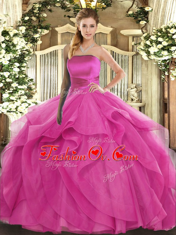 Hot Pink Sleeveless Floor Length Ruffles Lace Up Quinceanera Gowns