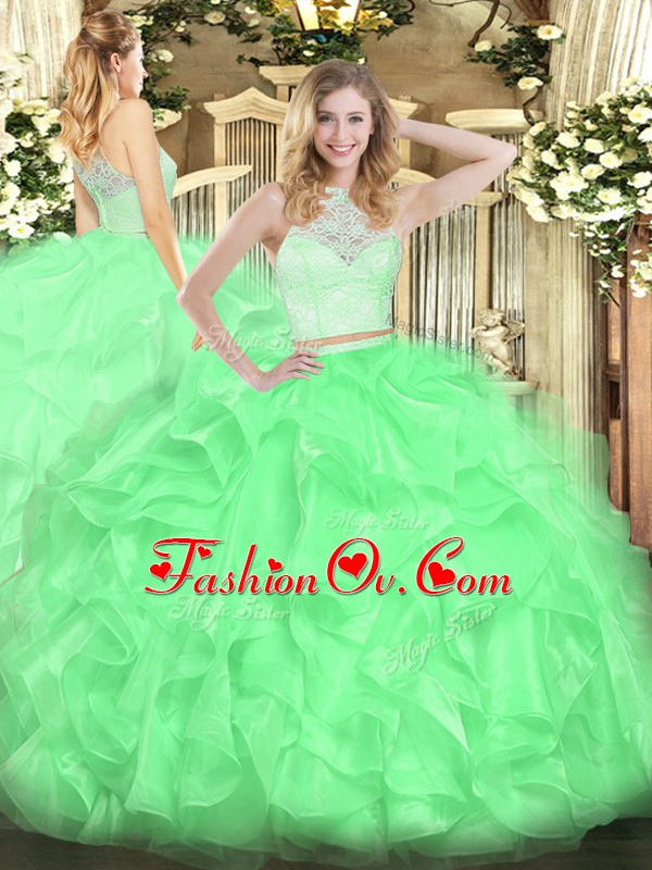 Sleeveless Floor Length Lace and Ruffles Zipper Quinceanera Gowns with Apple Green