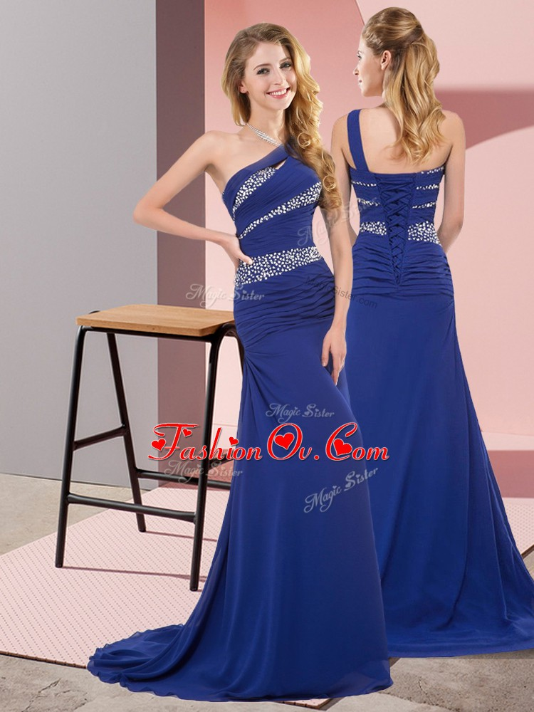 Excellent Blue Mermaid One Shoulder Sleeveless Chiffon Floor Length Sweep Train Lace Up Beading Prom Dresses