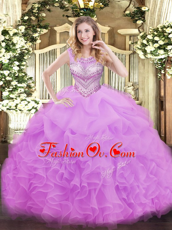 Low Price Lilac Lace Up Scoop Beading and Ruffles and Pick Ups Quinceanera Gowns Organza Sleeveless