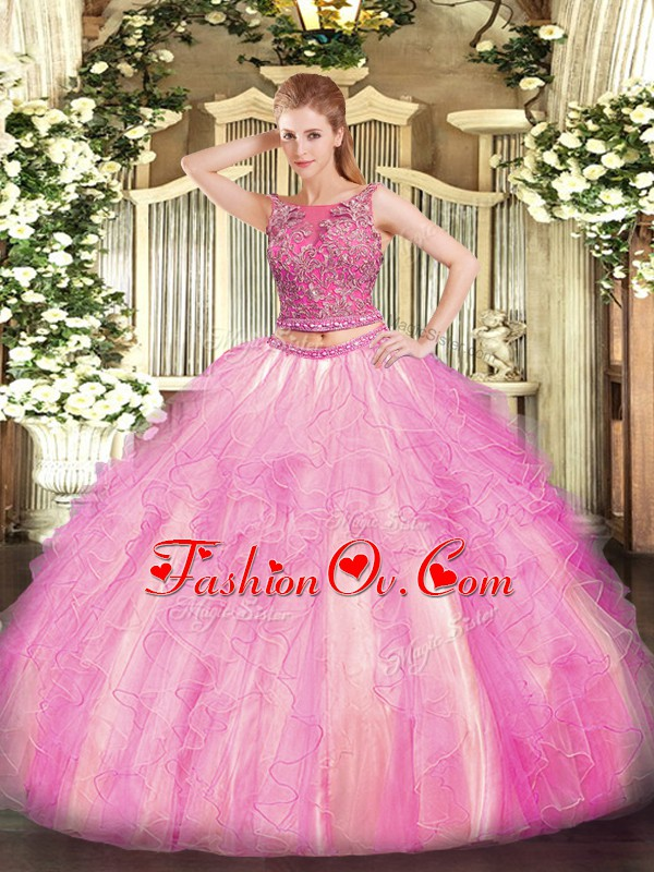 Dynamic Floor Length Two Pieces Sleeveless Rose Pink Quince Ball Gowns Lace Up
