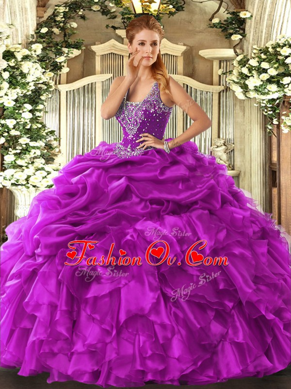 Fuchsia Lace Up Quinceanera Gowns Beading and Ruffles and Pick Ups Sleeveless Floor Length