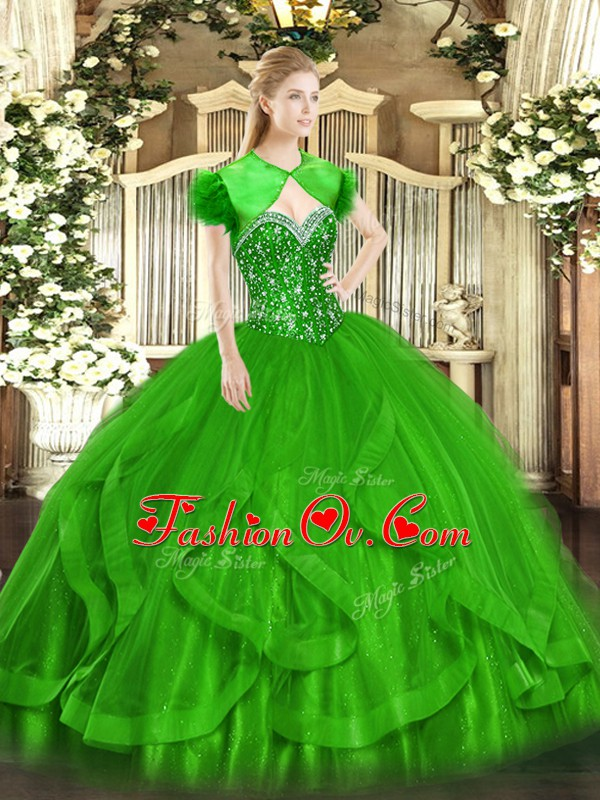 Sexy Green Lace Up Sweetheart Beading and Ruffles Quinceanera Dress Tulle Sleeveless
