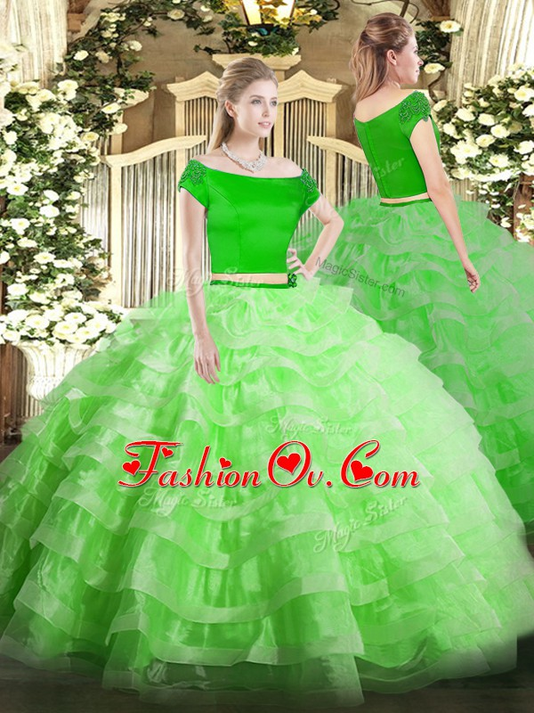 Zipper Quinceanera Dresses Appliques and Ruffled Layers Short Sleeves Floor Length