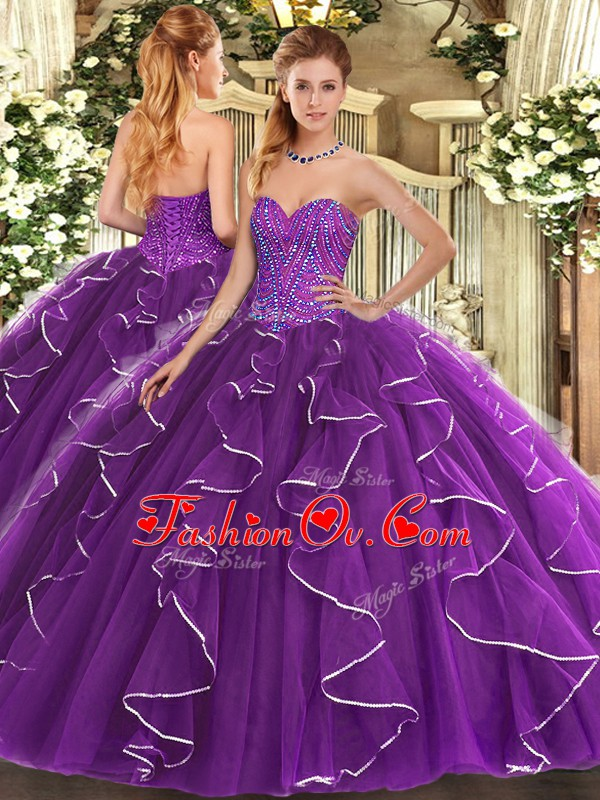 Glorious Purple Sweetheart Lace Up Beading and Ruffles Quinceanera Dresses Sleeveless