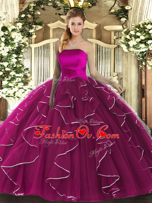 Comfortable Floor Length Fuchsia 15 Quinceanera Dress Strapless Sleeveless Lace Up