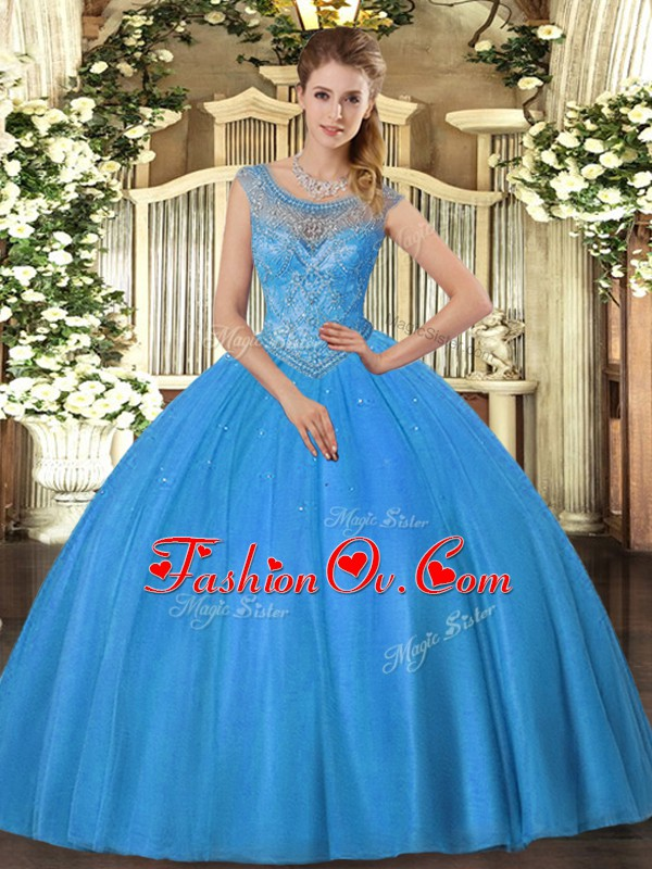 Beading 15 Quinceanera Dress Baby Blue Lace Up Sleeveless
