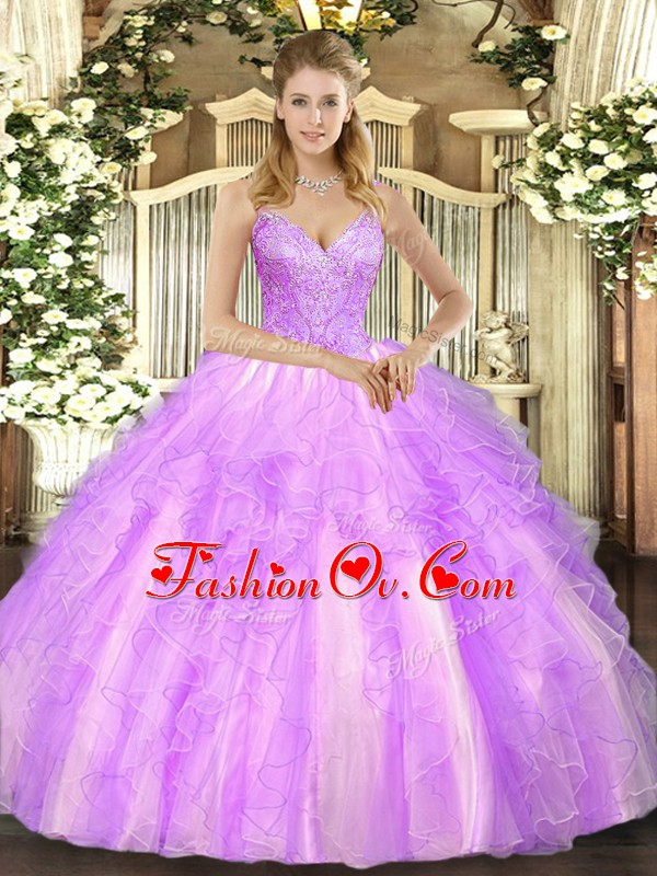 V-neck Sleeveless 15 Quinceanera Dress Floor Length Beading and Ruffles Lilac Tulle