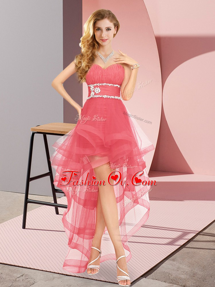 Decent Coral Red A-line Beading Evening Dress Lace Up Tulle Sleeveless High Low