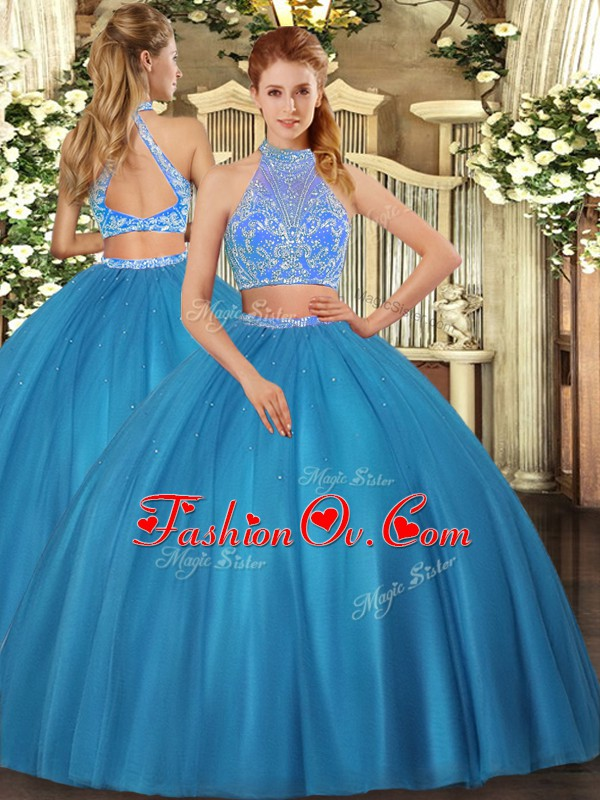 Halter Top Sleeveless Sweet 16 Dress Floor Length Beading Teal Tulle