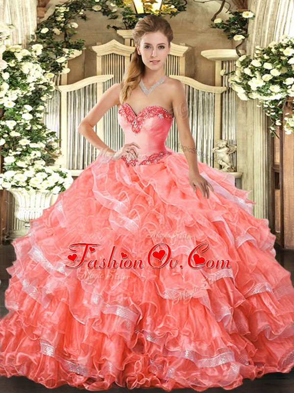 Simple Watermelon Red Sweetheart Lace Up Beading and Ruffled Layers Quinceanera Gowns Sleeveless