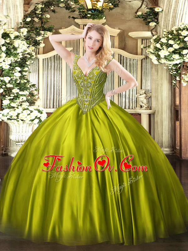 Excellent V-neck Sleeveless Lace Up Quinceanera Dresses Olive Green Satin
