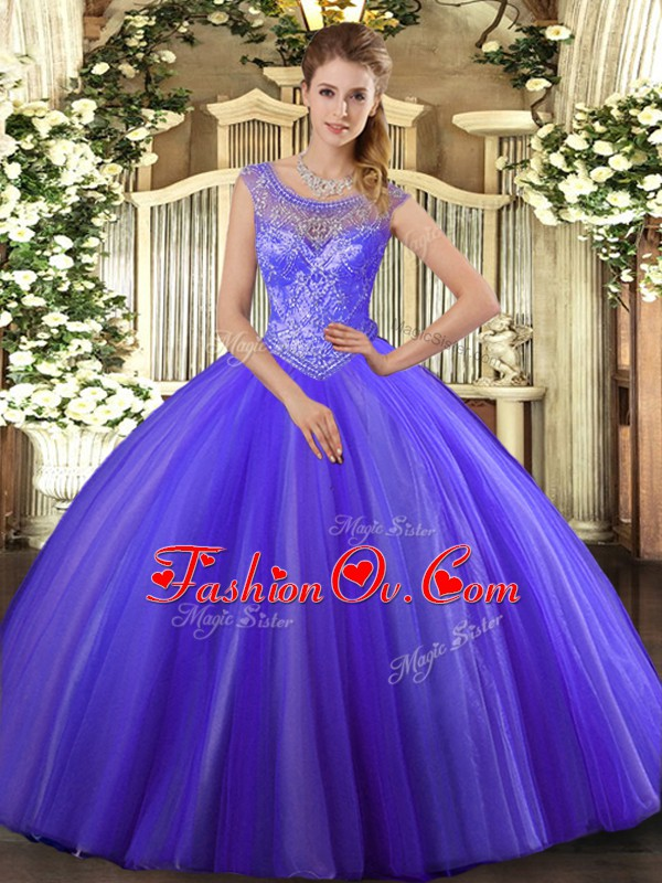 On Sale Lavender Sleeveless Floor Length Beading Lace Up Vestidos de Quinceanera