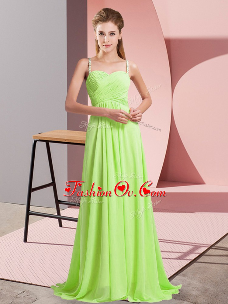 Most Popular Yellow Green Criss Cross Prom Dress Ruching Sleeveless Sweep Train