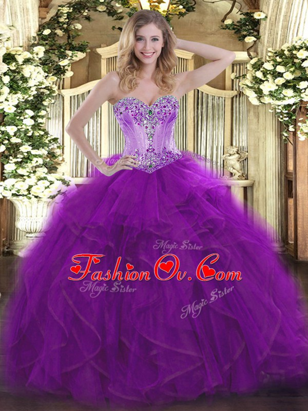 Unique Sweetheart Sleeveless Lace Up Sweet 16 Dresses Eggplant Purple Organza