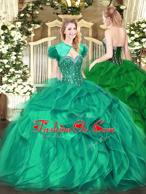 Great Sweetheart Sleeveless Organza Sweet 16 Quinceanera Dress Beading and Ruffles Lace Up