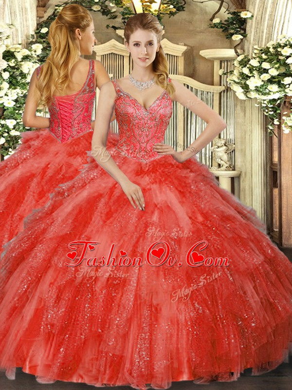 Dynamic Tulle Sleeveless Floor Length Sweet 16 Dress and Beading and Ruffles