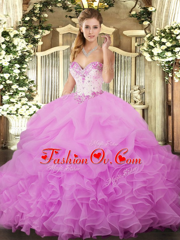 Sweet Lilac Ball Gowns Sweetheart Sleeveless Organza Floor Length Lace Up Beading and Ruffles and Pick Ups Quinceanera Gown