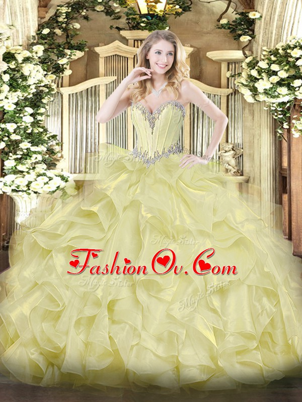 Sleeveless Organza Floor Length Lace Up Sweet 16 Quinceanera Dress in Yellow with Beading and Ruffles