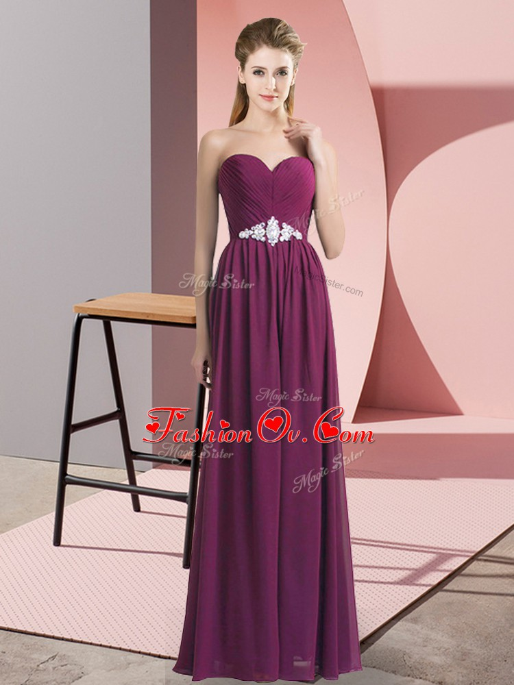 Beauteous Floor Length Lace Up Dress for Prom Dark Purple for Prom and Party with Beading