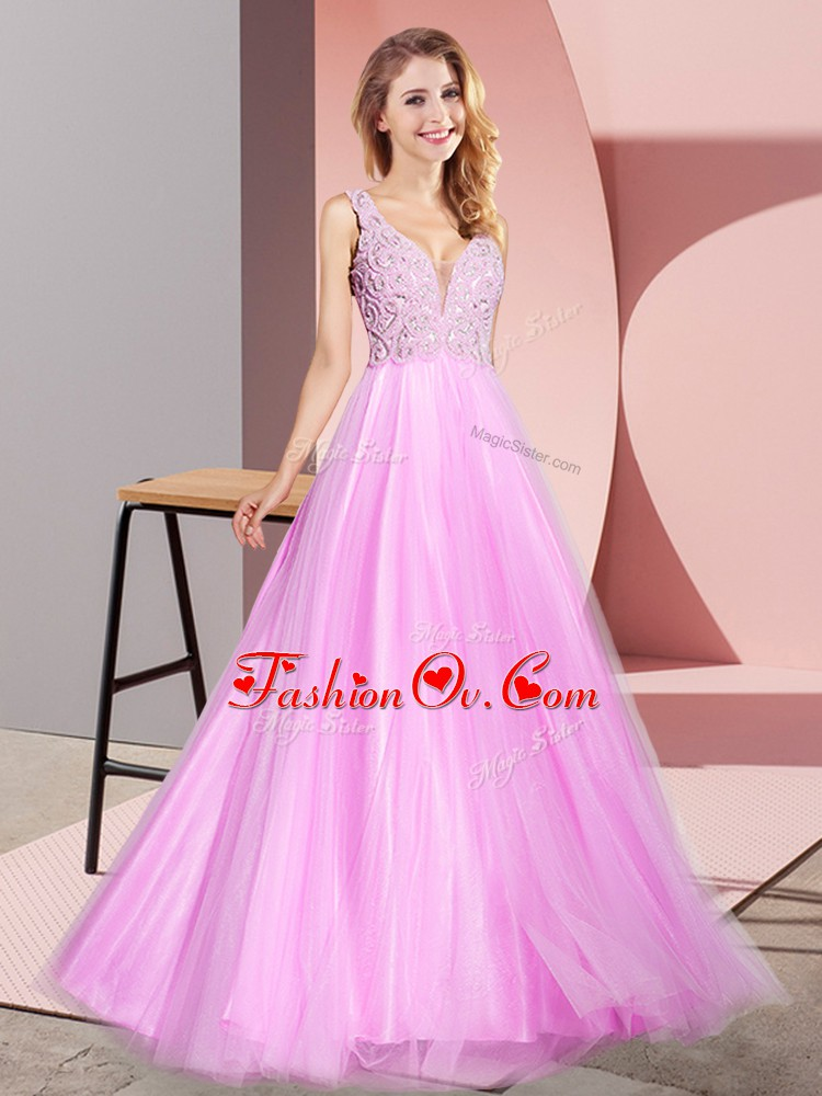 Vintage Sleeveless Tulle Floor Length Zipper Homecoming Dress in Lilac with Lace