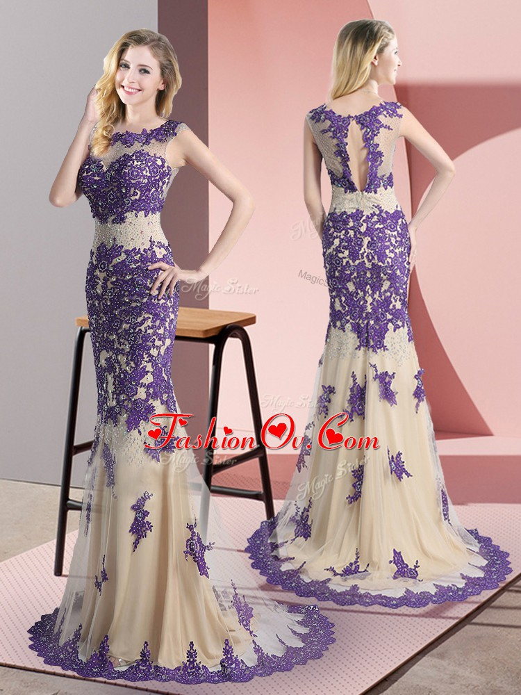 Perfect Sweep Train Mermaid Prom Evening Gown Champagne Scoop Tulle Sleeveless Side Zipper