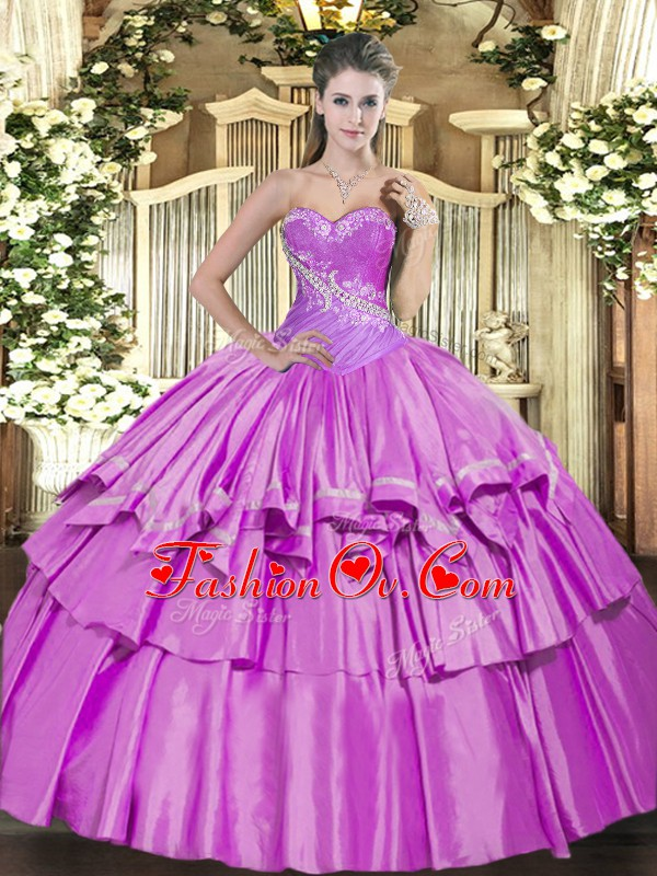 Lilac Sweet 16 Dresses Military Ball and Sweet 16 and Quinceanera with Beading and Ruffled Layers Sweetheart Sleeveless Lace Up