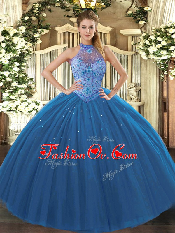 New Style Sleeveless Floor Length Beading and Embroidery Lace Up Ball Gown Prom Dress with Navy Blue