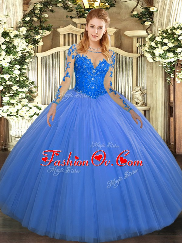 Blue Scoop Lace Up Lace Quinceanera Dress Long Sleeves