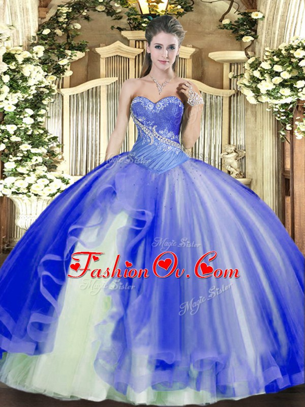 Captivating Blue Lace Up Vestidos de Quinceanera Beading and Ruffles Sleeveless Floor Length