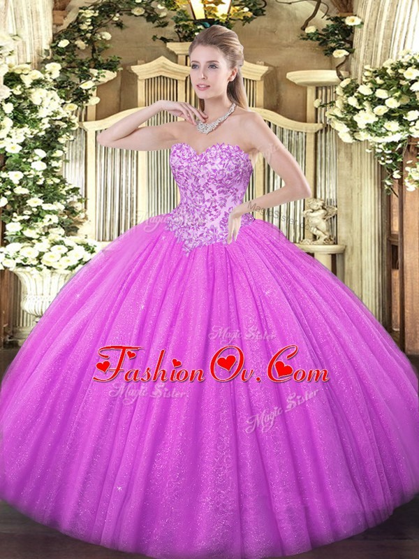Lilac Ball Gowns Sweetheart Sleeveless Tulle Floor Length Lace Up Appliques 15 Quinceanera Dress