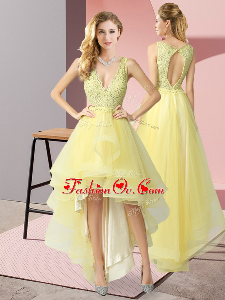 High Low Yellow Homecoming Dress Tulle Sleeveless Beading