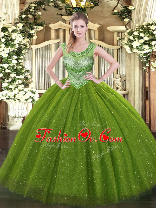 Hot Sale Olive Green Quinceanera Dress Sweet 16 and Quinceanera with Beading Scoop Sleeveless Lace Up